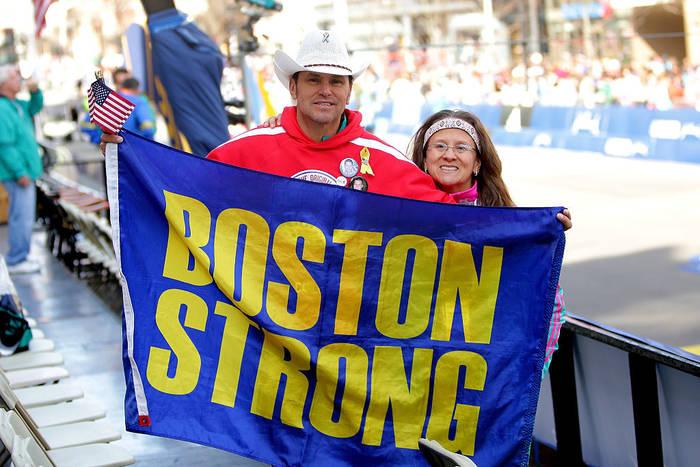 Зрители на Бостонском марафоне