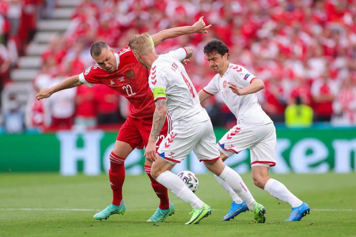 Кадр с матча Россия - Дания