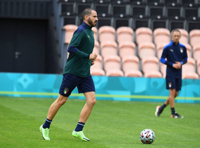 Леонардо Бонуччи на тренировке сборной Италии